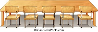 bois, chaises, bureau