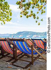 bois, chaises, plage, touriste