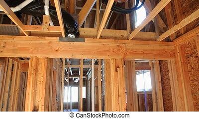 bois, chambre maison, nouveau, intérieur, résidentiel, encadrement, construction, rayons