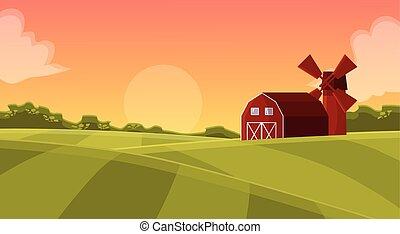 bois, champ, hangar, rouges, agriculteurs