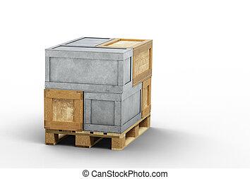 bois, chargé, palette, boîtes, transport, métal