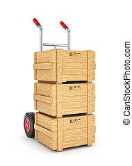 bois, chariot, boîtes