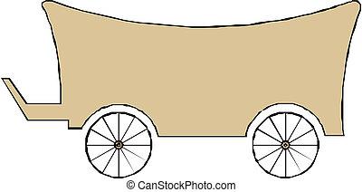 bois, chariot, isolé