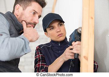 bois, charpentier, maison, structure, utilisation, foret