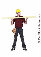 bois, charpentier, tenue, planche