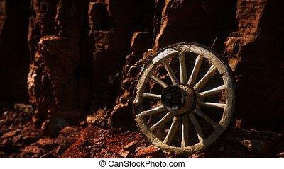 bois, charrette, rochers, roue, pierre, vieux