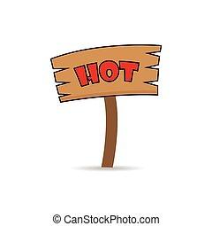 bois, chaud, fait, signe