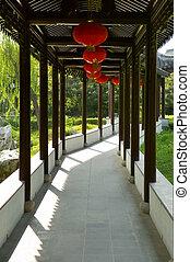 bois, chinois, couloir