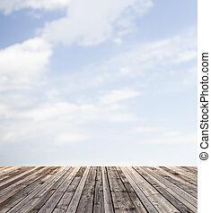 bois, ciel bleu, plancher