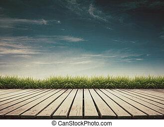bois, ciel bleu, terrasse
