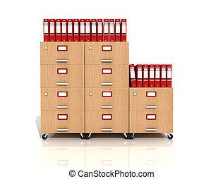 bois, classer tiroir, à, rouges, sonner classeurs