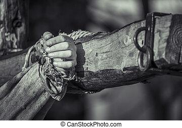 bois, cloué, croix, main