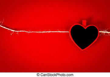 bois, coeur, étiquette, rope.