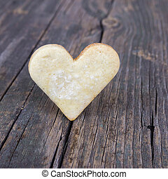 bois, coeur, biscuits, fond