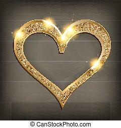 bois, coeur, cadre, fond, or