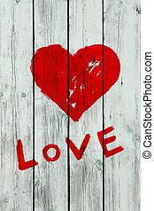 bois, coeur, mur