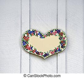 bois, coeur, peint, flowersr