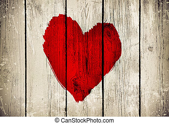 bois, coeur, vieux, mur