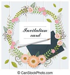 bois, collection, 2, fond, invitation, carte