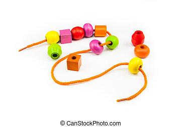 bois, collier, perles, coloré