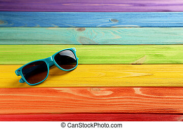 bois, coloful, lunettes soleil, table