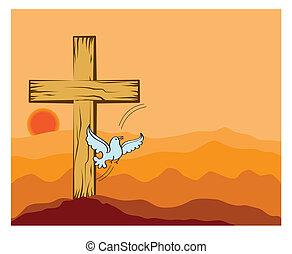 bois, colombe, ombre, art, croix
