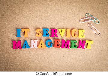 bois, coloré, texte, service, management., lettres, il