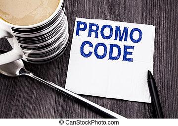 bois, concept, bureau, mouchoir, promo, texte, sommet, tissu, business, arrière-plan., écrit, papier, promotion, ligne, marqueur, bois, vue., coffee., projection, code., manuscrit