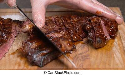 bois, concept., découpage, stand, cuisine, planche, viande
