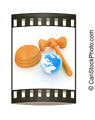 bois, concept., global, isolé, arrière-plan., bande, marteau, la terre, blanc, enchère, pellicule