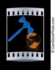 bois, concept., global, isolé, arrière-plan., noir, bande, marteau, la terre, enchère, pellicule