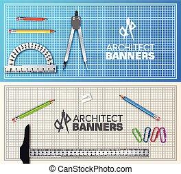 bois, concept., illustration, projet, équipement, vecteur, architecte, fond, table, professionnel, bannières