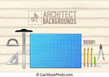 bois, concept., illustration, projet, équipement, vecteur, architecte, fond, table, professionnel, design.
