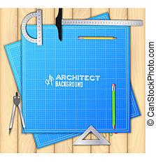bois, concept., illustration, projet, équipement, vecteur, conception, fond, professionnel, architecte, table