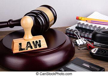 bois, concept., juge, papeterie, marteau, table, droit & loi