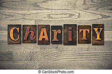 bois, concept, letterpress, charité