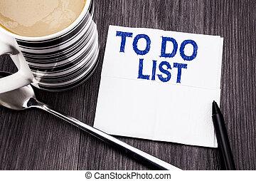 bois, concept, papier, bureau, mouchoir, list., bois, texte, sommet, listes, business, arrière-plan., écrit, tissu, plan, remider, marqueur, vue., coffee., projection, manuscrit