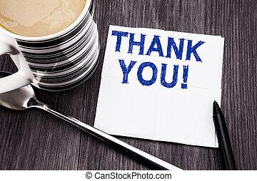bois, concept, projection, remercier, mouchoir, you., bois, texte, sommet, tissu, business, arrière-plan., écrit, papier, coffee., remerciement, marqueur, message, bureau, vue., manuscrit