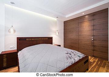 bois, confortable, chambre à coucher