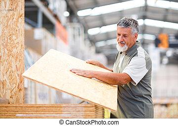 bois, construction, bricolage, choisir, achat, homme