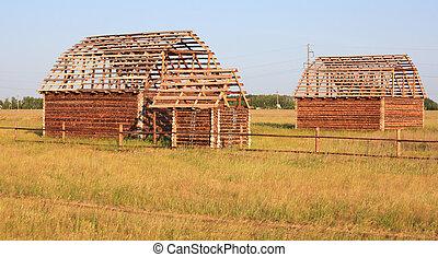 bois, construction, house.