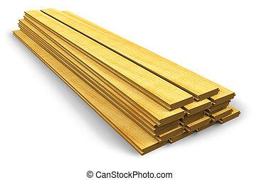 bois, construction, pile, planches