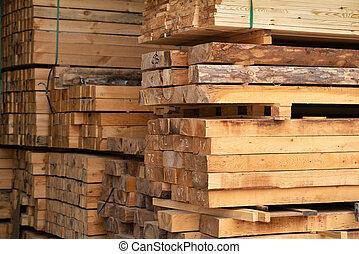 bois construction, satck, storaged, bois, entrepôt