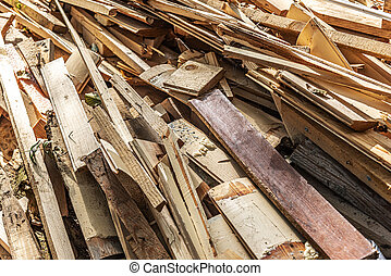 bois, construction, tas, débris, close-up.
