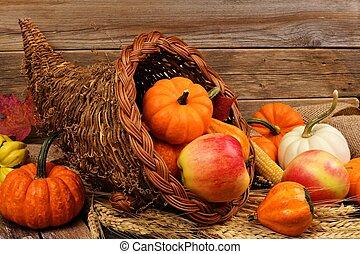 bois, contre, rustique, corne abondance, thanksgiving