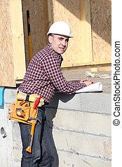 bois, contremaître, construction, surveillance, maison