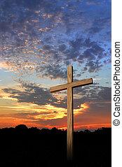 bois, coucher soleil, croix