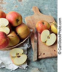 bois, coupé, découpage, pommes, planche