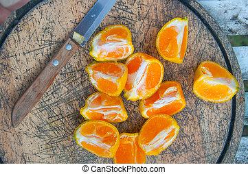 bois, coupé, planche découper, oranges