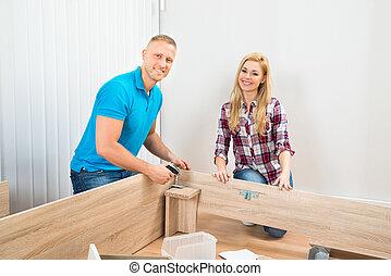 bois, couple, montage, meubles